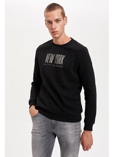 DeFacto New York Baskılı Bisiklet Yaka Slim Fit Sweatshirt Siyah